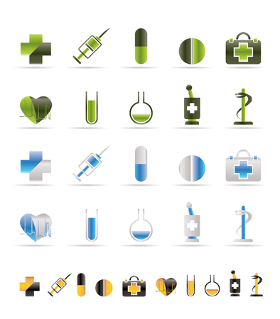 healt: Medical Icon and signs - icon set Illustration