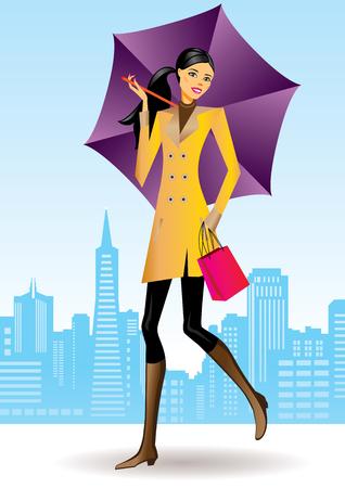 fashion shopping: compras de las ni�as con bolsa de compras en San Francisco - ilustraci�n de moda