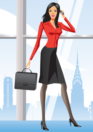 Business woman in office in New York - illustration