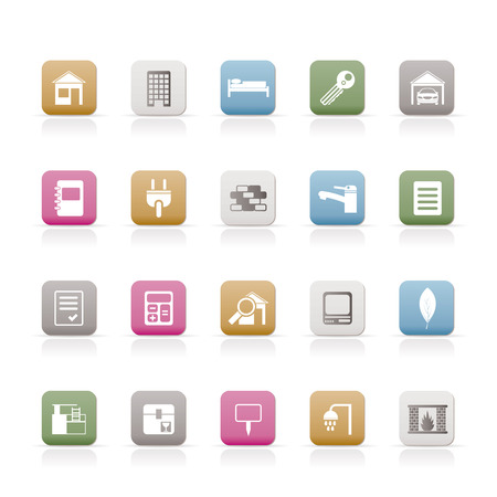 car garden: Real Estate and building icons - Vector Icon Set