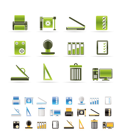 Print industry Icons - Vector icon set  - 3 colors included Vector