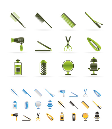 hairdressing, coiffure and make-up icons - vector Icon Set - 3 colors included Vetores