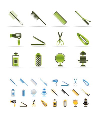 peluquerias: iconos de coiffure, peluquer�a y maquillaje - vector Icon Set - 3 colores incluidos Vectores