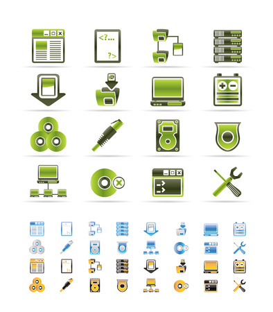 Server Side Computer icons - Vector Icon Set  - 3 colors included Stock Vector - 6296248