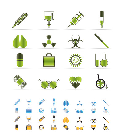 collection of  medical themed icons and warning-signs vector icon set  - 3 colors included Stock Vector - 6296246