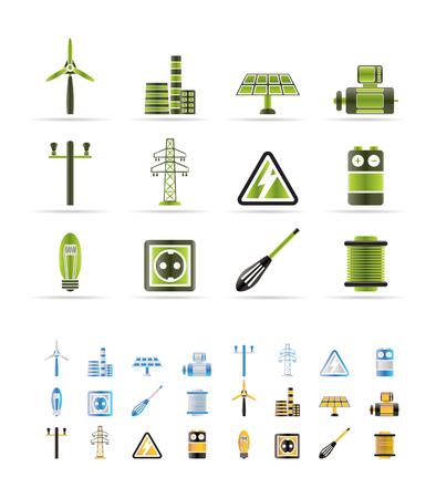 Ikony energii elektrycznej i zasilania - wektor ikony ustaw - 3 kolory zawarte Ilustracje wektorowe