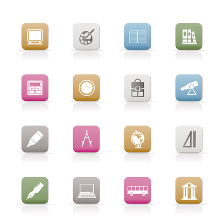 School and education icons - vector icon set Stock Vector - 6296234