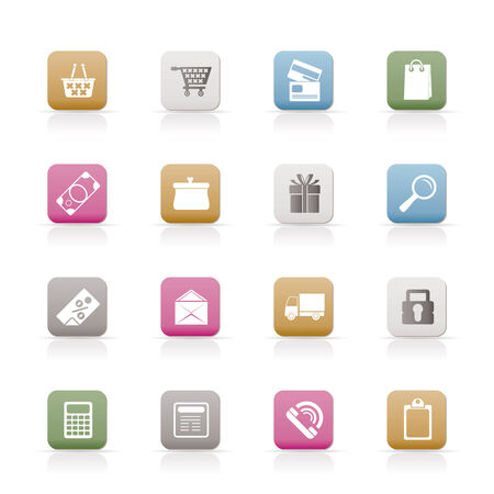 Online shop icons - vector  icon set Stock Vector - 6296233