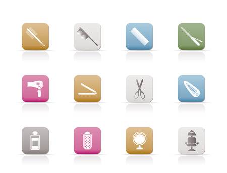 hairdressing, coiffure and make-up icons Stock Vector - 6346328