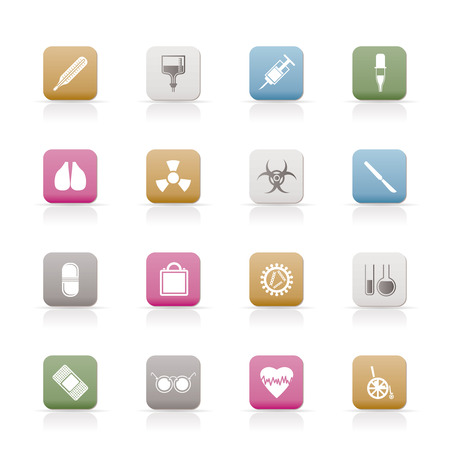 collection of  medical themed icons and warning Stock Vector - 6346355