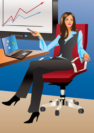 girl laptop: Business woman in office