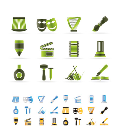top menu: Different kind of art icons  set  - 3 colors included Illustration