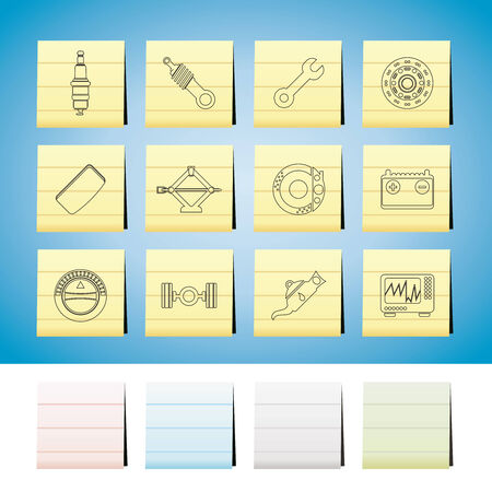 Car Parts and Services icons  Set 1 Vector