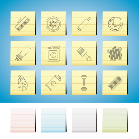 Car Parts and Services icons  Set 2 Vector