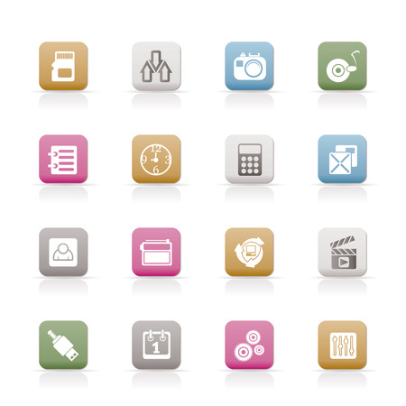 polyphony: phone performance, internet and office icons  set