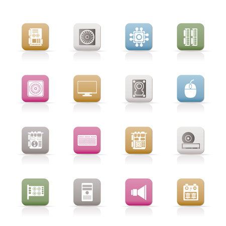 Computer  performance and equipment icons  set Vector