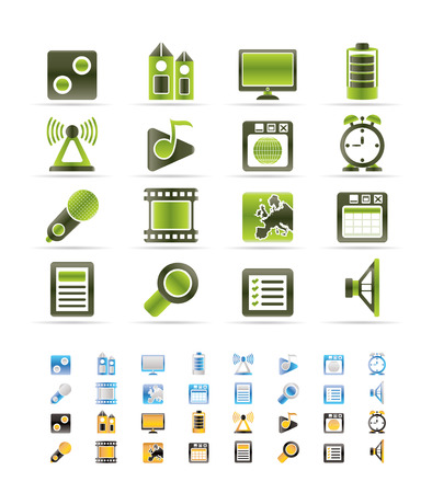 polyphony: Mobile phone  performance, internet and office icons   - 3 colors included Illustration
