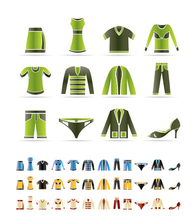 Clothing Icons -  3 colors included Vector