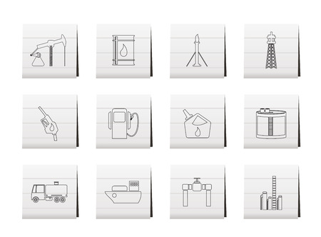 Oil and petrol industry icons Stock Vector - 6467641