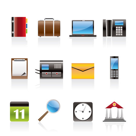 Business, Office and Mobile phone icons Stock Vector - 6467656