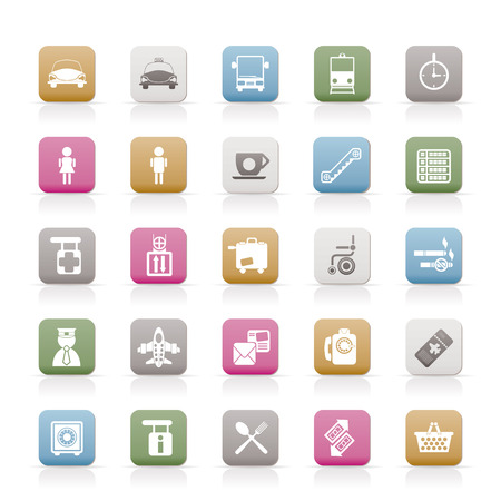 Airport, travel and transportation icons -  vector icon set Stock Vector - 6543115