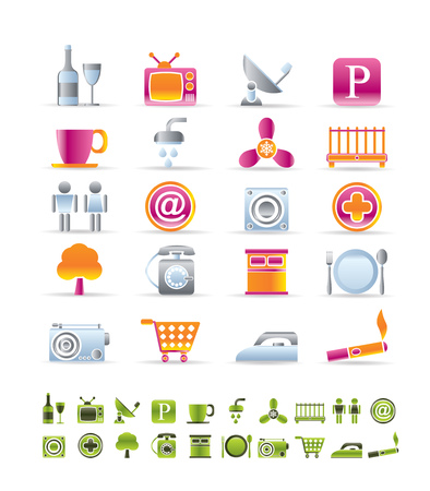 Hotel and Motel objects icons - vector icon sets Vector