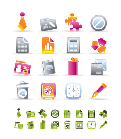 Realistic Business and Office Icons - vector icon set Stock Vector - 6543127