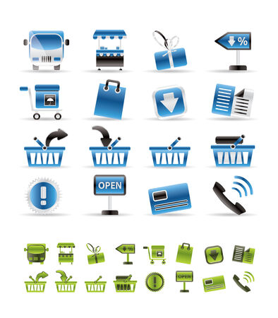 money online: Online shop icons - vector icon set - 2 color included Illustration