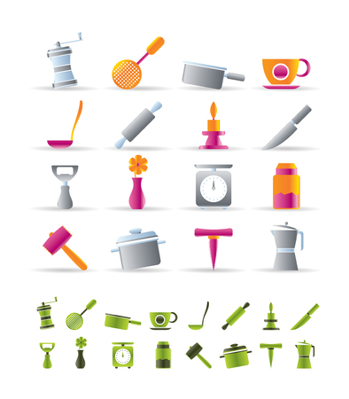 kitchen utensils: Kitchen and household tools icons - vector icon set - 2 colors included
