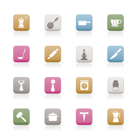 Kitchen and household tools icons - vector icon set Stock Vector - 6578059