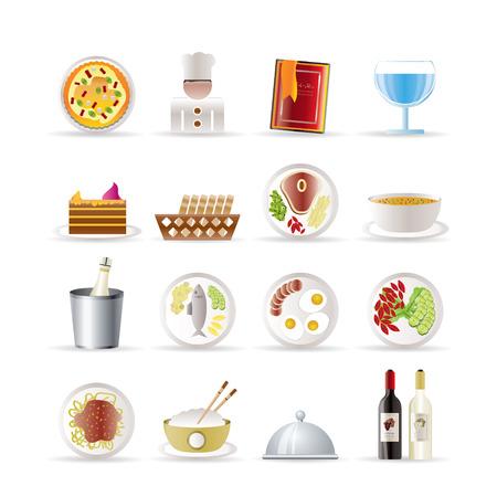 고명: 레스토랑, 음식과 음료 아이콘 - 벡터 아이콘 세트