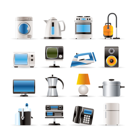 washing symbol: home equipment icons - vector icon set