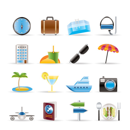 travel, trip and tourism icons - vector icon set Vector