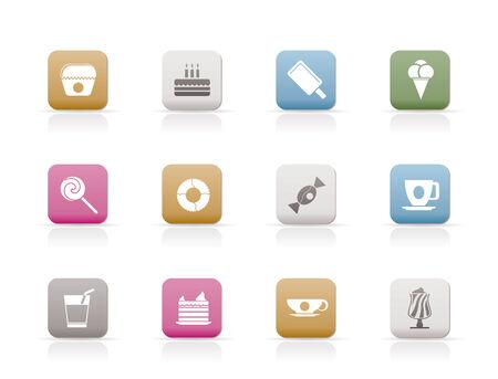 sweetmeats: Iconos de alimentos y productos de confiter�a dulces - conjunto de iconos de vector  Vectores