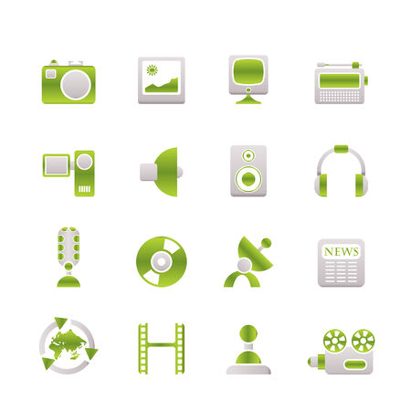 Media and household equipment icons Stock Vector - 6709000