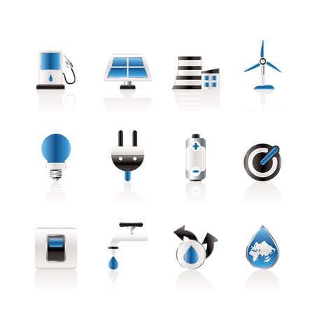 solar power station: Ecology, power and energy icons
