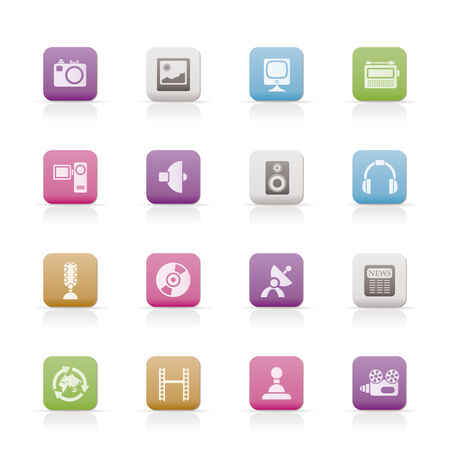 Media and household equipment icons Stock Vector - 6709009