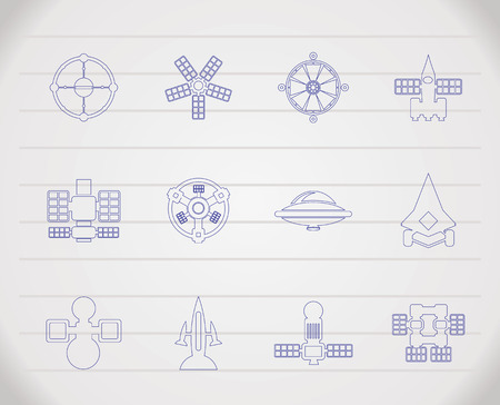 different kinds of future spacecraft icons Stock Vector - 6708992