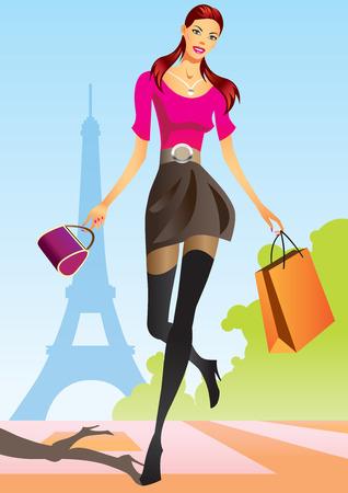 las niñas con bolsa de compras en París de compras de moda Vectores