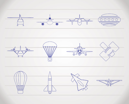different types of Aircraft Illustrations and icons Stock Vector - 6775076