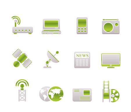 satellite transmitter: Business, technology  communications icons