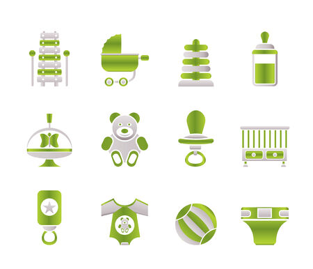 toy shop: Child, Baby and Baby Online Shop Icons Illustration