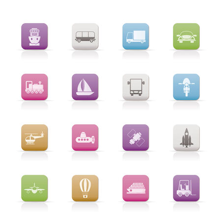sailer: Transportation, travel and shipment icons Illustration