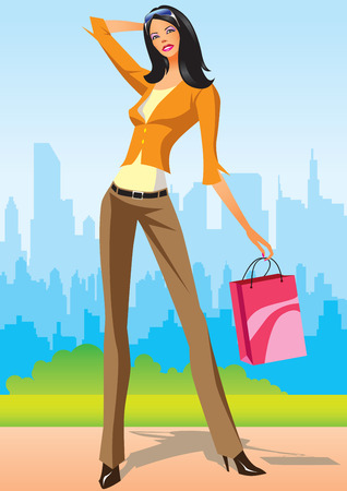 fashion shopping girls with shopping bag in New York Vector