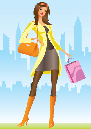 glamors: fashion shopping girls with shopping bag in New York