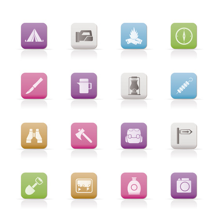 gas fireplace: tourism and hiking icons Illustration
