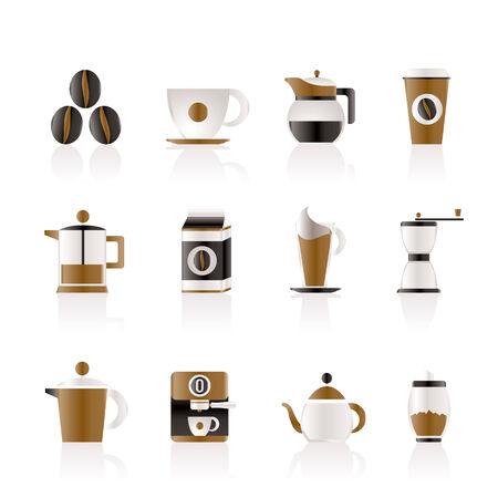 los signos de la industria de café e iconos  Ilustración de vector