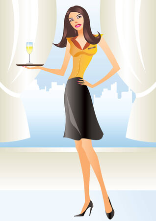 beautiful waitress in apron holding coctail in new york Vector