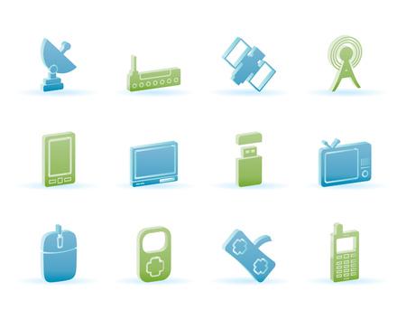 microwave antenna: tecnolog�a y comunicaciones iconos - conjunto de iconos