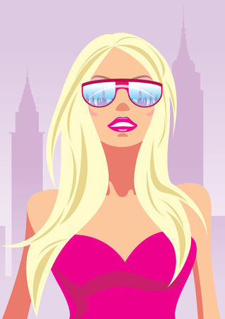 Fashion girl with glasses in New York - illustration Stock Vector - 6910046